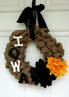 Iowa Hawkeyes - Burlap Wreath DIY - Home Decor - Fall Decor