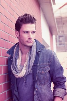 Scarf.denim. hair.