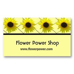 a bright and sunny template business card with a top border of sunflowers against a black