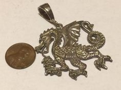 Vintage Sterling Silver Medieval Rearing Dragon Pendant Charm  BIG  14.5 grams  #Unbranded