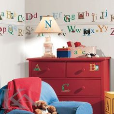 Room Mates Alphabet Wall Stickers are a great way to create a feature with minimal fuss and effort. The alphabet stickers are accompanied by various features indicating their letter ranging from animals, trees, foods and many more. Alphabet Wall Decals, Disney Wall Decals, Kids Room Wall Decals, Letter Wall Stickers, Abc Wall, Alphabet Stickers, Alphabet Letters, Nursery Decals, 26 Letters