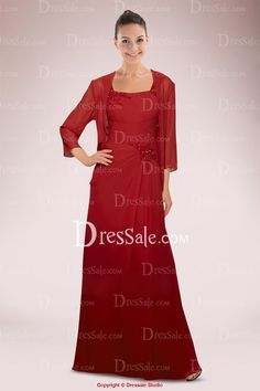Red Chiffon Straps Mother of Bride Dress Holding Beaded Applique and Pleats with Additional Jacket