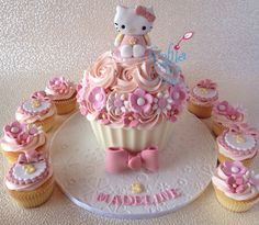 Hello Kitty Inspired Giant Cupcake and matching cupcakes | by Sophia Mya Cupcakes
