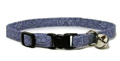 Fancy Cat Collar  Denim Paisley  Breakaway Safety by PawsnTails