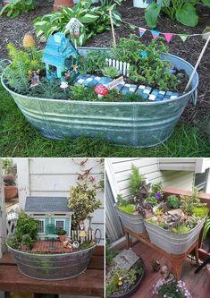 Design your dream fairy garden in a galvanized metal bucket or more.