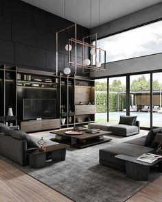 Dream Home Design, Modern House Design, Living Room Modern, Interior Design Living Room, Modern Minimalist Living Room, Living Room Ideas, Monochromatic Living Room, Design Interior, Living Room Grey