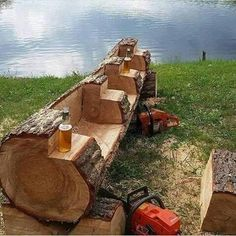 Saw Cut Log Bench - Rough Cut - cabin decor Log Cabin Kits, Log Cabin Homes, Log Projects, Outdoor Projects, Scrap Wood Projects, Easy Projects, Projects For Kids, Rustic Log Furniture, Garden Furniture
