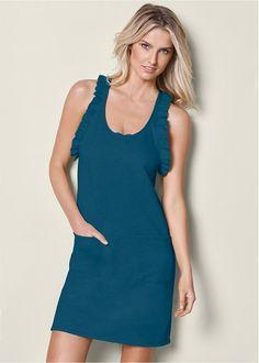 Ruffle Detail Lounge Dress in Heather Grey | VENUS