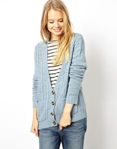 ASOS Aran Cardigan With Neps - Blue - Google Search