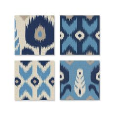 Dress any room in blue with the Alternating Blue Ikat 4-piece Canvas Art Set. These panels feature a unique modern take on traditional design in shades of blue and grey that you will love to feature in your home.