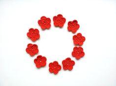 Crochet Flower Halloween Orange Appliques