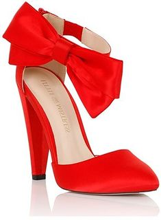 Womens poppy little mistress red satin bow side heel from Lipsy - £58 at ClothingByColour.com