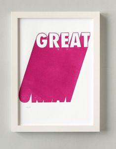 Holzschnitt GREAT pink Typografie Poster A4 handgedrucktes | Etsy Printing Ink, Silk Screen Printing, Riso Print, Poster Colour, Typography Poster, Print Artist, Woodblock Print, Pink