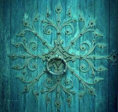 Teal door - The Magic Faraway Tree Old Doors, Windows And Doors, Tiffany Blue, The Magic Faraway Tree, Door Knobs And Knockers, Shades Of Turquoise, Turquoise Door, Teal Door, Favorite Color