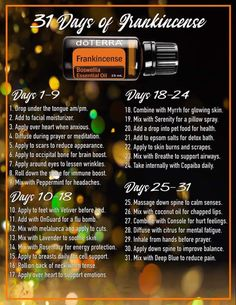 31 ways to use frankincense essential oil and experience all of the amazing benefits! -- Click the link on the photo to get started with frankincense and the other top most used oils! Frankincense Essential Oil Benefits, Frankincense Essential Oil Uses, Doterra Frankincense, Doterra Essential Oils, Doterra Blends, Essential Oil Diffuser Blends, Doterra Diffuser, Oil For Headache, Health Tips