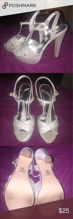 Silver Glitter High Heels Very cute 5 inch open toe heels.  Size 8 ( true to size) ... only worn once for about two hours at a wedding.  Condition is almost new and no flaws. Shoes Heels