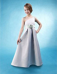 A-line One Shoulder Floor-length Satin Junior Bridesmaid Dre... – USD $ 79.99 okkkkayyy