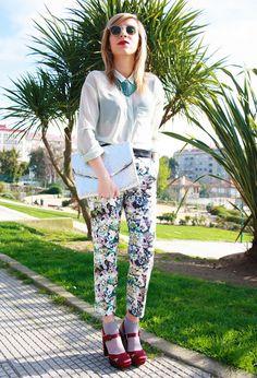 Flower Power!   , Bimba & Lola in Heels / Wedges, Zara in Pants, H&M in Bags, Zara in Shirt / Blouses, Blanco in Jewelry,  Epos Classic in Glasses / Sunglasses
