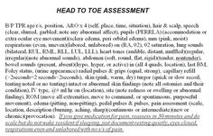 a head to toe assessment cheat sheet forged from 4 different nursing instructors