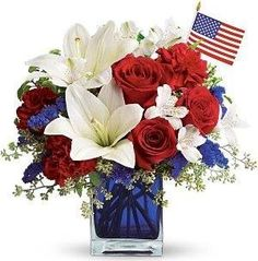 Red white and blue on Pinterest  Blue Flower Arrangements, Fourth of July and Silk Floral