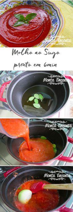 Molho ao Sugo em 6 minutos é uma mão na roda, rápida de fazer. Leva tomate pelado que a gente compra pronto e garante um molho delicioso e sem acidez. Sugar, Menu, Cooking, Ethnic Recipes, Gluten, How To Make Tomato Sauce, Sauces For Pasta, Pasta Sauces, Sauce Recipes
