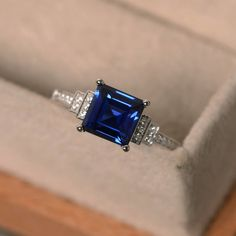 Lab sapphire ring square cut sapphire engagement ring