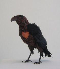 Ann Wood, Raven I'll soon have a murder of crows! Paper Birds, Felt Birds, Fabric Birds, Fabric Art, Clay Birds, Fabric Animals, Textile Sculpture, Bird Sculpture, Soft Sculpture
