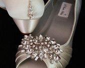Boda zapatos de cuña zapatos de novia cuñas con grandes brillantes cristal Broche Dyeable zapatos escoge tu color