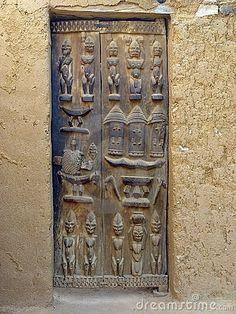 Africa A carved wooden Dogon Door. Cool Doors, The Doors, Unique Doors, Entrance Doors, Windows And Doors, Stairs Window, Doorway, African House, African Sculptures