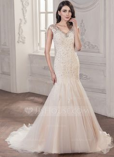 [US$ 328.99] Trumpet/Mermaid V-neck Chapel Train Tulle Lace Wedding Dress With Beading Sequins (002056984)