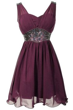 Bold Embellished Waistband Chiffon Designer Dress in Eggplant gorgeous dress would definitely need to be in a different color!!