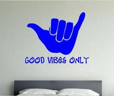 GOOD VIBES ONLY Vinyl Wall Decal Sticker Art Decor Bedroom Design Mural interior design beach ocean hawaii sea