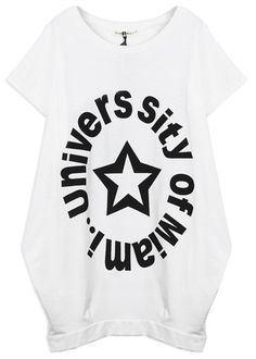 #SheInside White UNIVER SITY OF MIAMI Short Sleeve Cuffed Hem T-shirt