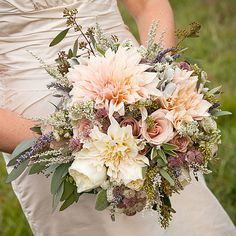 A Rustic-Romantic Bouquet of Dahlias and Roses Tying the knot outdoors? Consider a textural arrangement that complements your surroundings. ...