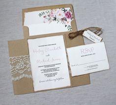 Rustic Wedding Invitation. Lace Wedding by LoveofCreating on Etsy