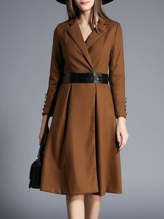 Lapel Wrap Trench Coat and Belt