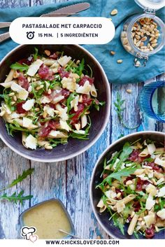 Pastasalade met carpaccio - Chickslovefood We really can't get enough of carpaccio. I Love Food, Good Food, Yummy Food, Healthy Cooking, Cooking Recipes, Healthy Recipes, Carpaccio Salat, Easy Diner, Salad Recipes