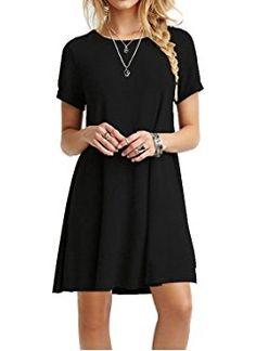 MOLERANI Women's Casual Plain Simple T-shirt Loose Dress