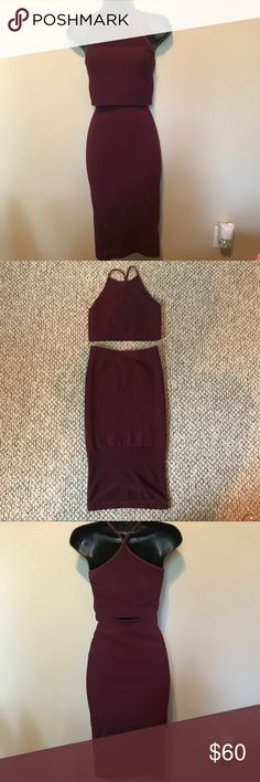 Maroon Two Piece Dress Both have only been tried on for a few minutes. No tags. No flaws. Both are sized xs/s. hugs your curves in the right places. Mesh material but not sheer. BCBGeneration Dresses Midi