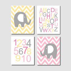 Chevron Elephant Nursery Art Alphabet Numbers by LovelyFaceDesigns