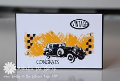 Some fiddling on the kitchen table: New Art Journey Stamps 'Vintage Cars'