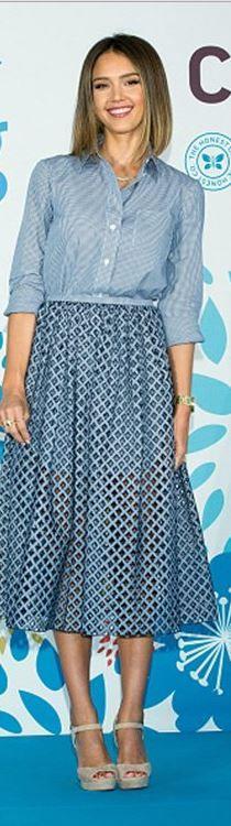 Who made  Jessica Alba's white stripe shirt, blue diamond print top, and tan suede sandals?