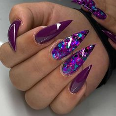 Stunning & Cutest Stiletto Nails for 2020 Purple Stiletto Nails, Purple Acrylic Nails, Stiletto Nail Art, Best Acrylic Nails, Bling Nails, Swag Nails, Stiletto Nail Designs, Pastel Nails, Purple Nails