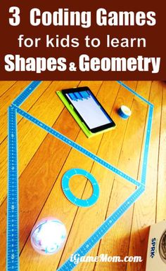 Coding Games for kids to learn Shapes and Geometry, for preschool to grade 6. Great for hour of code, math center or homeschool