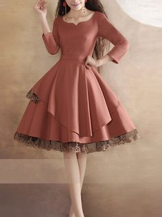 Lace Dress Pink Dress Long Sleeves Vintage Dress Black Dress Little Tea Dress Beautiful Prom Dress Fashion Original Design on Etsy, $96.99
