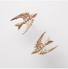 Fossil ohrringe vogel