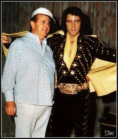 """Elvis and Colonel Parker - very few photos exist of Elvis wearing the """"Black Pyramid"""" jumpsuit"""
