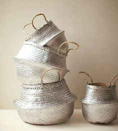 Favorite DIYs- Metallic Painted Baskets