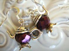 TEAPOT EARRINGS crystal purple coloured bead tea pot earring choose any colour