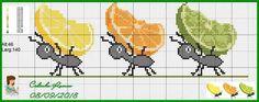 Cross Stitch Fruit, Small Cross Stitch, Cross Stitch Kitchen, Cross Stitch Bookmarks, Cross Stitch Animals, Cross Stitch Patterns, Ant Crafts, Alpha Patterns, Cross Stitching